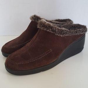 Aerosoles Brown Suede Fur Slip On Wedge Sandals
